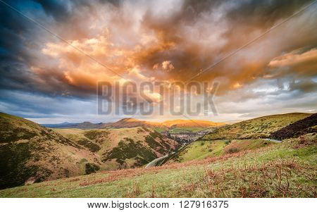 Dramatic Sunset Clouds Over Carding Mill Valley Shropshire Hills UK