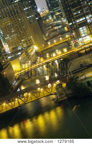 Night Time On The Chicago River