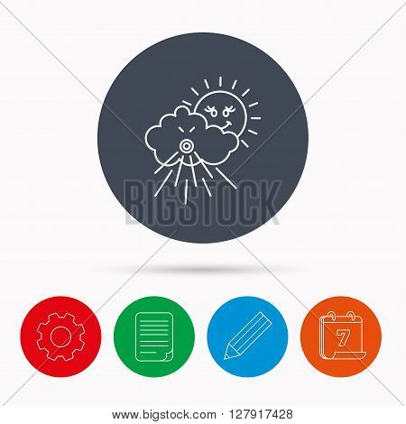 Wind icon. Cloud with sun and storm sign. Strong wind or tempest symbol. Calendar, cogwheel, document file and pencil icons.