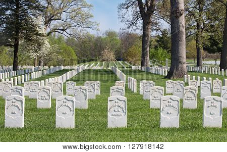 SPRINGFIELD ILLINOIS/USA-APRIL 25 2016: Gravestones of Civil War soldiers buried at Camp Butler National Cemetery