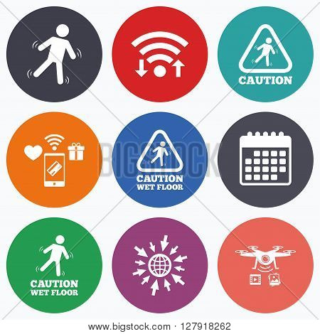Wifi, mobile payments and drones icons. Caution wet floor icons. Human falling triangle symbol. Slippery surface sign. Calendar symbol.