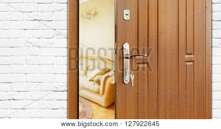 Half opened door to a living room. Door handle, door lock. Lounge door half open. Opening door. Welcome, privacy concept. Entrance to the room. Door at white brick wall, modern interior design.
