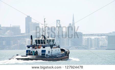 Tugboat Ahbra Franco Heading Into The San Francisco Bay