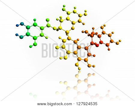 3 D illustration, molecule of Theaflavin-3-gallate over white background.