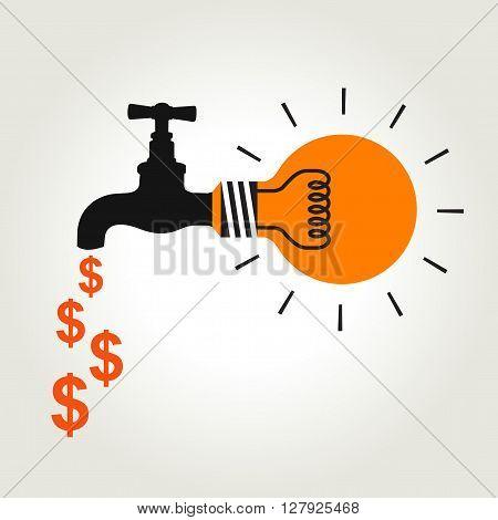 Orange light bulb with black faucet , money sign came form faucet