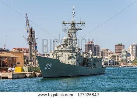 Sydney Australia - November 9 2014: The HMAS Melbourne (III) docked in Sydney Harbour Sydney Australia. It is one of the Royal Australian Navy's three remaining Adelaide Class guided missile frigates.