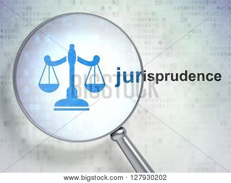 Law concept: magnifying optical glass with Scales icon and Jurisprudence word on digital background, 3D rendering
