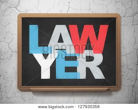 Law concept: Painted multicolor text Lawyer on School board background, 3D Rendering