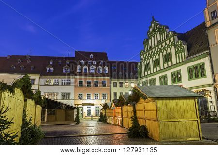 WEIMAR, THURINGIA, GERMANY - JANUARY 6, 2015: Market Square in Weimar in Germany during Christmas