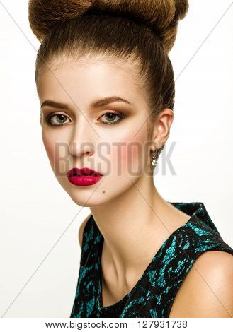 Beautiful Model Girl With Updo Hairstyle And Stylish Makeup
