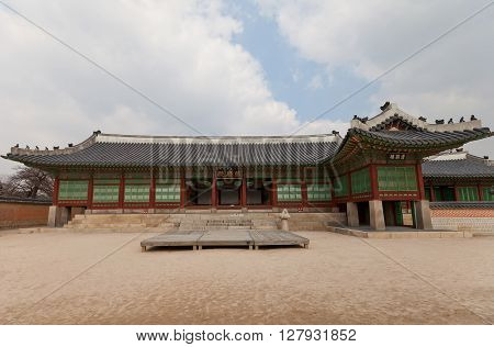 SEOUL SOUTH KOREA - MARCH 14 2016: Jagyeongjeon Hall (1888) of Gyeongbokgung Palace in Seoul Korea. Served as living quarters for Queen Dowager Jo