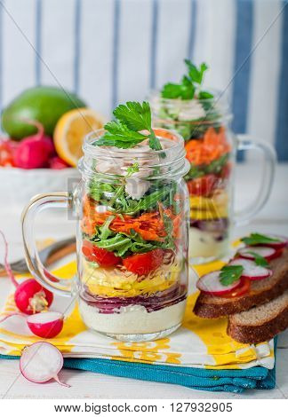 Rainbow Picnic Salad In A Mason Jar