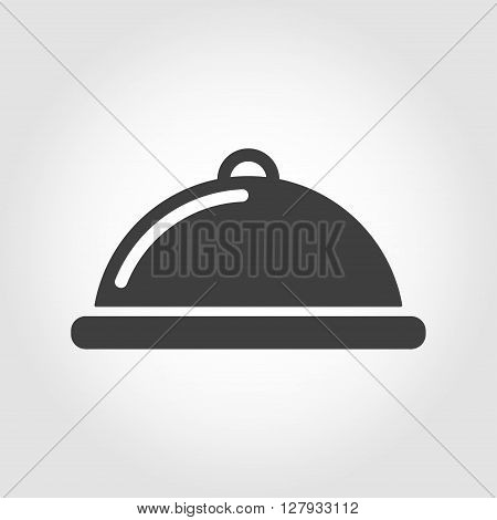 Vector grey food platter icon on white background. Food platter serving sign