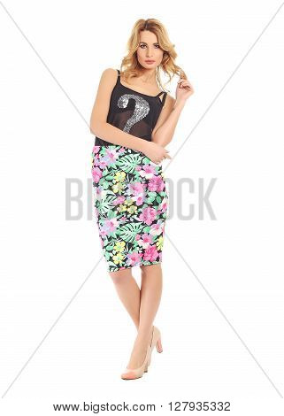 Full-length Portrait Young Woman In Skirt