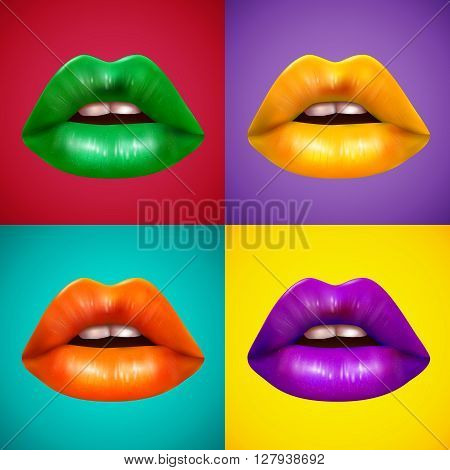 Brightly colored lips 4 icons square composition poster with orange yellow green and purple lipstick vector isolated illustration