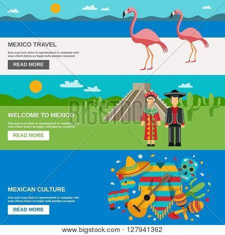 Mexico traditional costumes animals and food on the landscape background horizontal banner set vector illustration