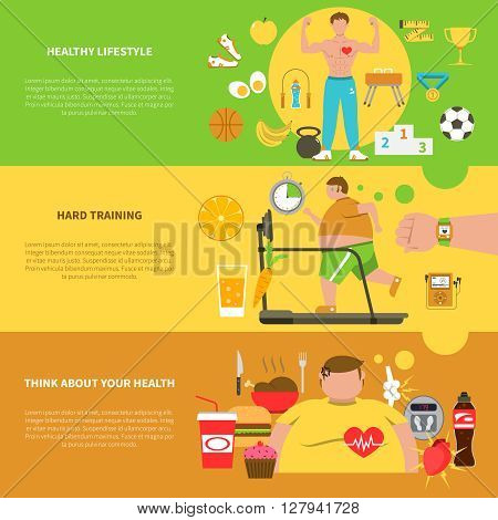 Obesity horizontal banners with healthy  lifestyle elements hard training for weight loss and unhealthy food icons set flat vector illustration