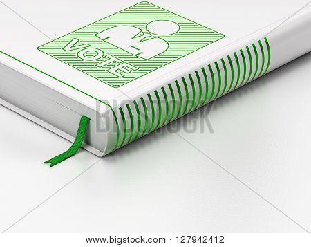 Political concept: closed book with Green Ballot icon on floor, white background, 3D rendering
