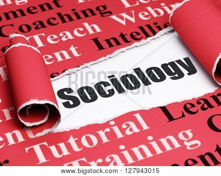 Education concept: black text Sociology under the curled piece of Red torn paper with  Tag Cloud, 3D rendering