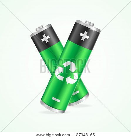 Recycling Concept Battery on a White Background. Vector illustration