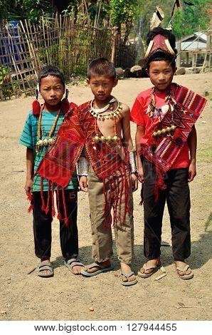 Three Boys In Nagaland, India