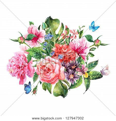 Summer hand drawing watercolor floral greeting card with blooming flowers peonies, roses, daisies, flower buds, violet,  butterfly, decoration flowers natural illustration