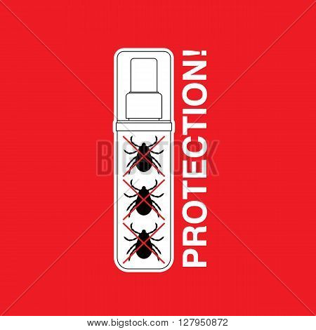 Vector insect tick protector. Dangerous tick parasite. Vector mite beetle. Tick protection icon isolated. Vector tick bug prevention. Ticks protection. Mite skin parasite. poster