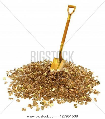 Mountain gold dollar with a gold shovel isolated on white background 3d illustration