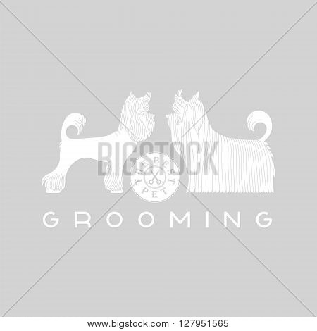 Vector dog grooming logo. Pet grooming logo. Animals hair salon logo labels badges. Dog grooming logo design element. Animal care logo sign. Vector dog grooming. Pet animal logo signs.