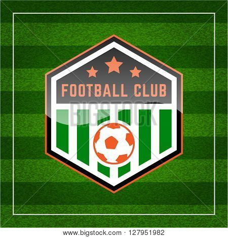 Football (soccer) Crest On Green Background