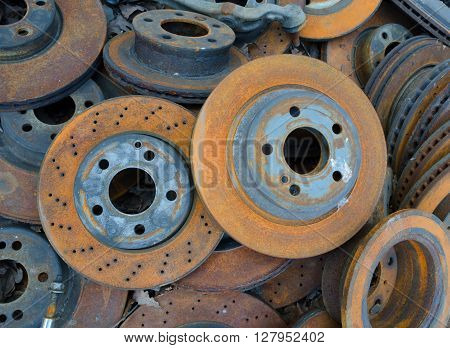 Useless worn out old rusty brake discs