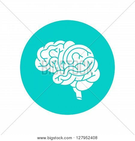 Human brain logo. Vector logo of human brain view. Brain outline logo for medical design or education. Vector logo brain isolated on white.