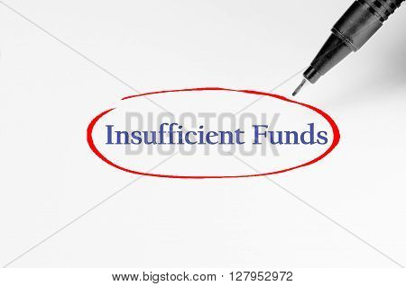 Insufficient Funds On White Paper - Business Concept
