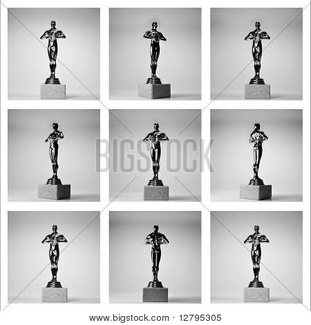 collage of the nine gold awarding figures on th? white background
