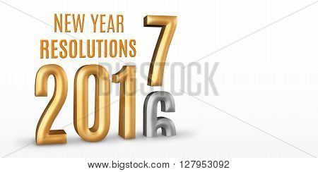 New Year Resolutions 2016 Gold Number Year Change To 2017 New Year In White Studio Room, New Year Co