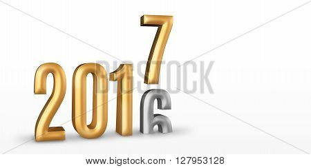 2016 Gold Number Year Change To 2017 New Year In White Studio Room, New Year Concept,3D Rendering, L