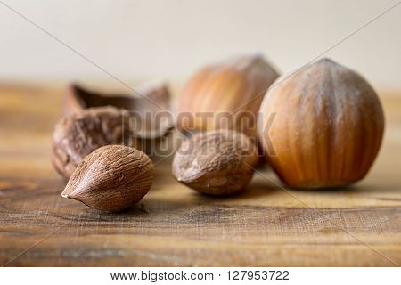 hazelnut and nutshell on wood dried food