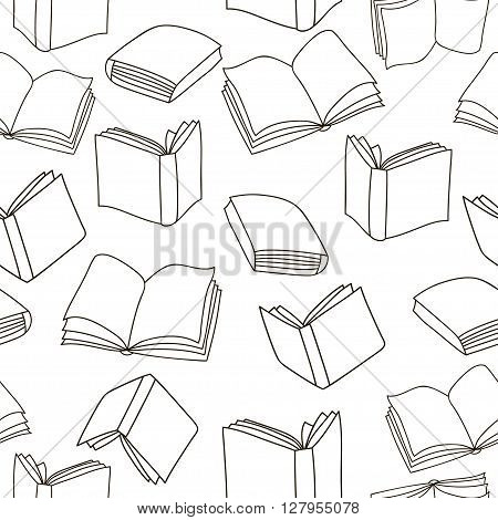 Seamless outline books pattern. Vector Monochrome texture. Vector seamless texture