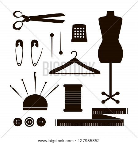 Set of tailor tools silhouette. Vector sewing items collection isolated on white