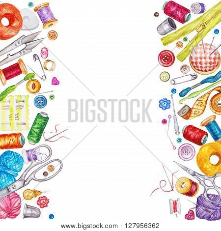 Frame of various watercolor sewing tools. Sewing kit accessories and equipment for sewing. Tools for needlework. Scissors buttons bobbins with thread and needles