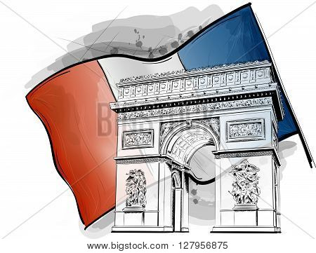 arch of triumph on the flag. vector monument