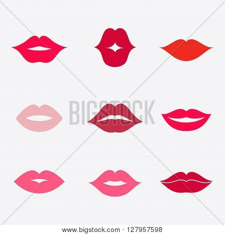 Lips vector icon set. Different women's lips isolated from background. Red lips close up girls. Shape sending a kiss kissing lips. Collection of women's mouths. Lips symbol.