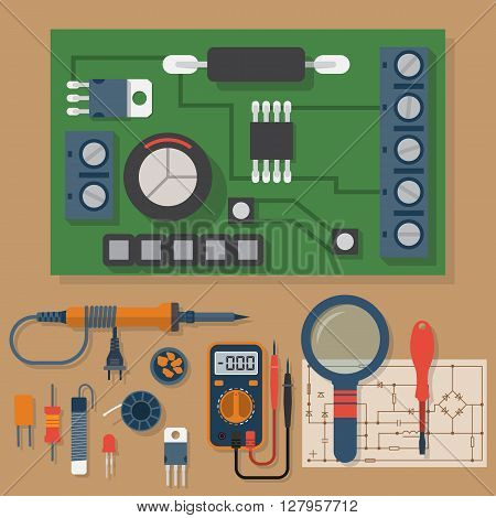 Set for soldering chips. Solder repair of electronic equipment. Vector flat design style. Tools electrician. Motherboard. Soldering iron board multimeter circuit. poster