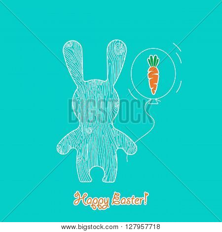 Vector greeting card Happy Easter. Easter Rabbit vector illustration in flat style. Funny bunny easter rabbit with ballon. Easter Bunny greeting card.