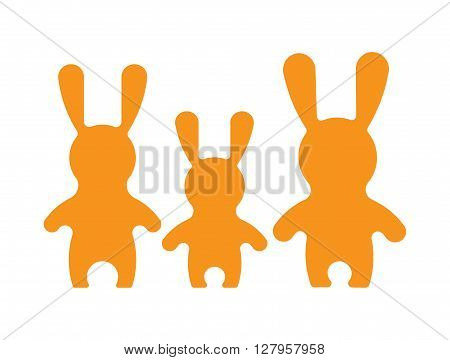 Vectorr rabbit illustration. Adorable hare family in flat style. Vector hare icon. Bunny cartoon flat style icons.
