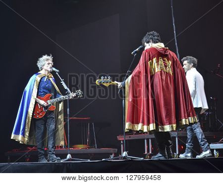 Florence Italy - December 03 2014: singers Niccolò Fabi Daniele Silvestri and Max Gazzè on stage at the concert hall of Florence.