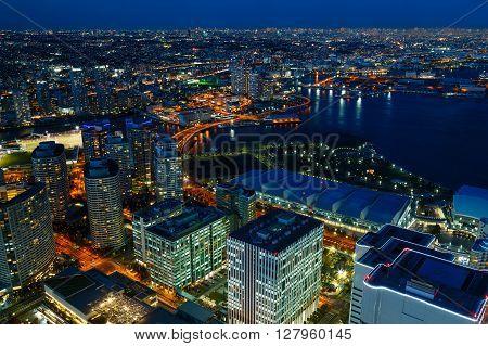 "YOKOHAMA JAPAN - NOVEMBER 24 2015: Minato Mirai 21 is a seaside urban area in central Yokohama whose name means ""Harbor of the Future"""