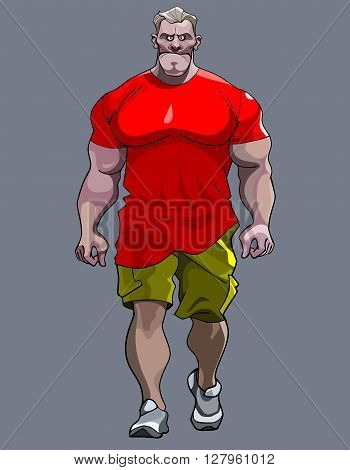 cartoon tense big man bodybuilder goes in a red T-shirt and shorts