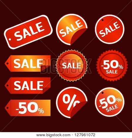 red and gold colored sale tag vector set