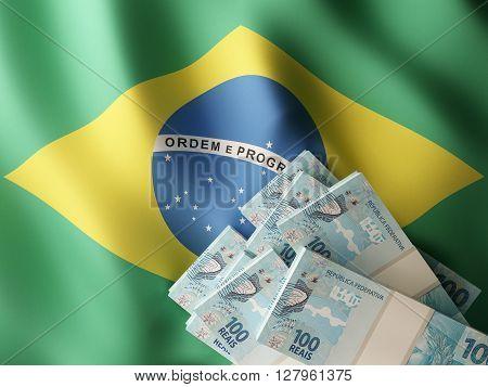 Brazilian real banknote bundles on textile texture on Brazil flag. 3d rendering.